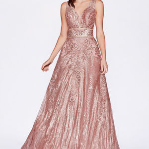 Rose-Gold Illusion Prom Long Dress